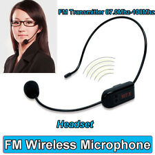 Hands-free FM Wireless Microphone Headset Megaphone Stereo Radio Mic Transmitter