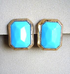 1181 / Konplott / Boucles D'oreille Resine Doree Et Bleu Turquoise 0qmatqgi-10040427-385439274