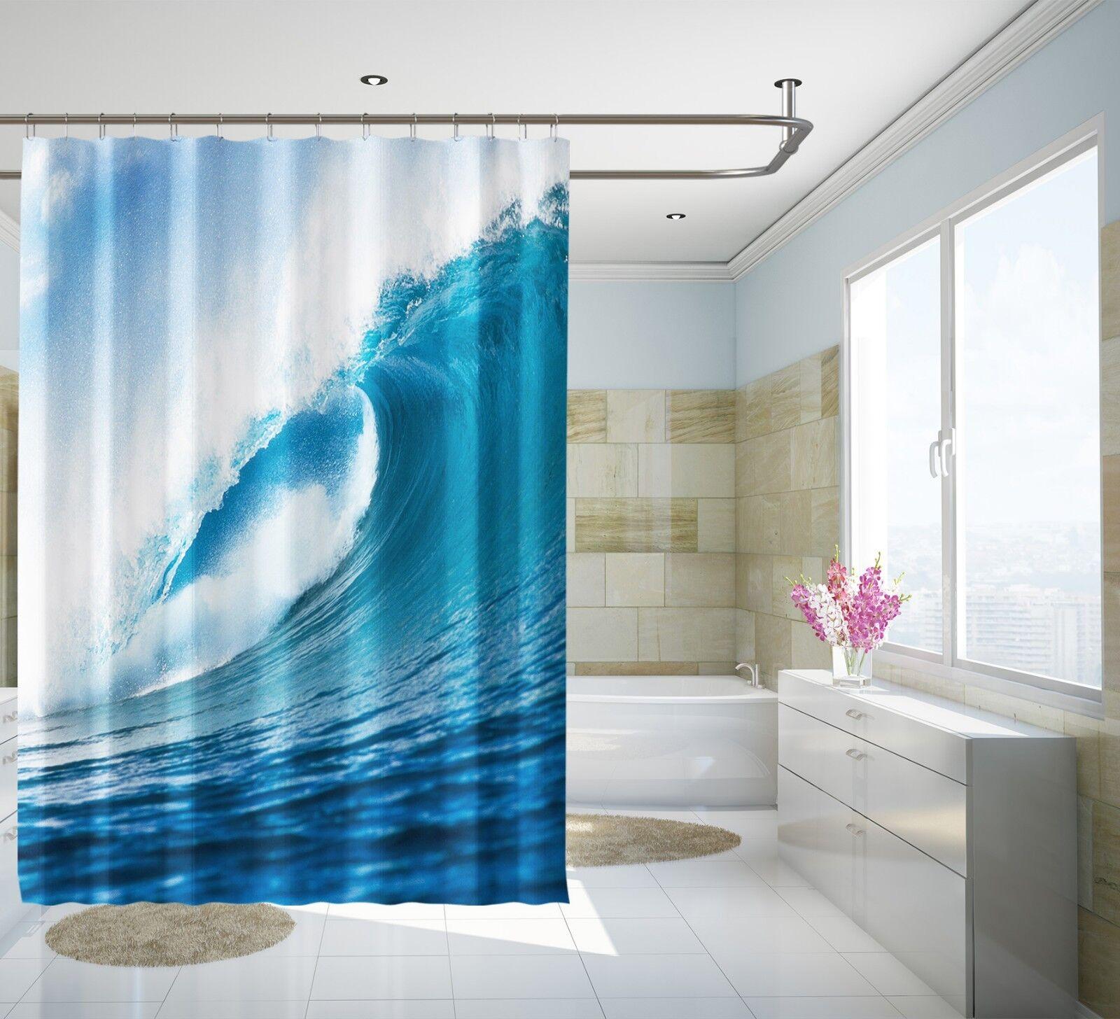 3D Vagues Bleu 56 Rideau de Douche Imperméable Fibre Salle de Bain Home Windows Toilette