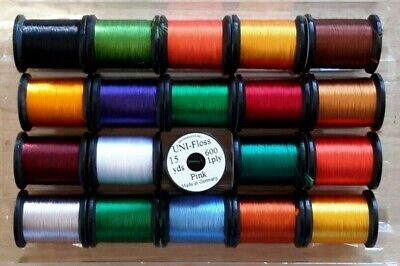 """Feather Craft /""""Uni-Floss/""""  20 Spools Combo Wire. Thread Yarn Fly Tying"""