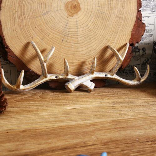 Cast Iron Deer Antler Hook Rack Decorative Hanger Hook Wall Door Mount White