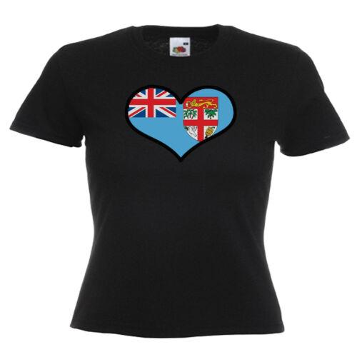 Fiji Love Heart Flag Ladies Lady Fit T Shirt 13 Colours  Size 6-16
