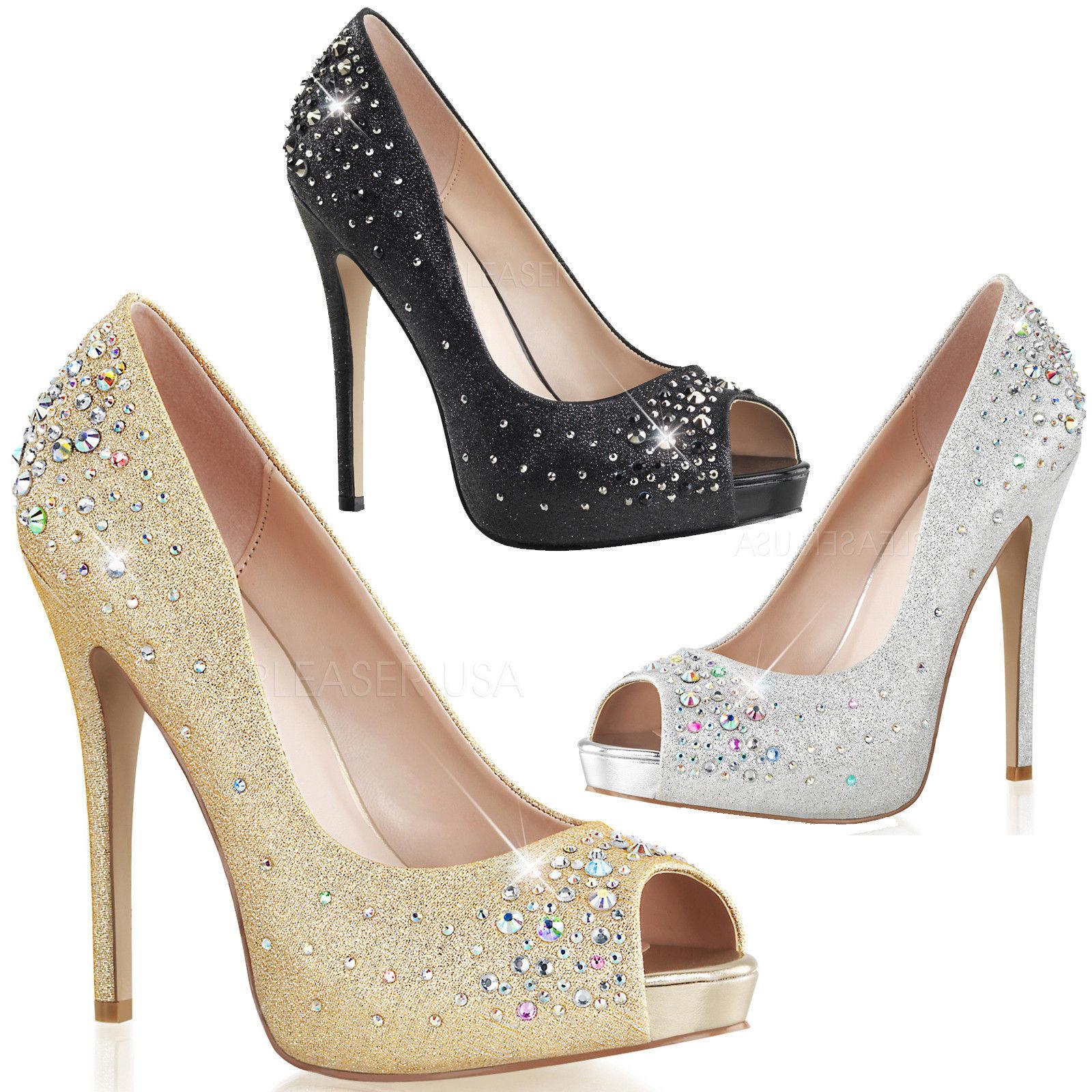 Zapatos casuales salvajes Heiress - 22r fabulicious señora tacón alto Peep Toe pumps glitzersteinchen gr35-42