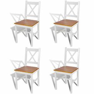 Dettagli su vidaXL 4x Sedie da Pranzo in Legno di Pino Naturale Soggiorno Cucina Seggiole