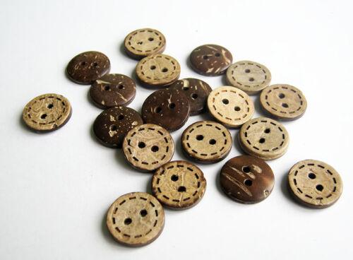 Boutons de noix de coco Cercle Dash 15mm