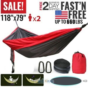 Camping Hammock 2-3 Person Parachute Tent Hiking Travel Outdoor 660lbs Durable