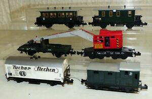 6-Minitrix-Wagen-Tucher-Kranwagen-mit-Schutzwagen-Personenwagen-3001-u-3002-usw