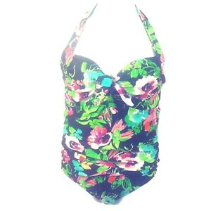 Catalina-Swimsuit-1X-16W-Halter-Top-Tie-Front-Multi-Floral-Black-Modest-NEW