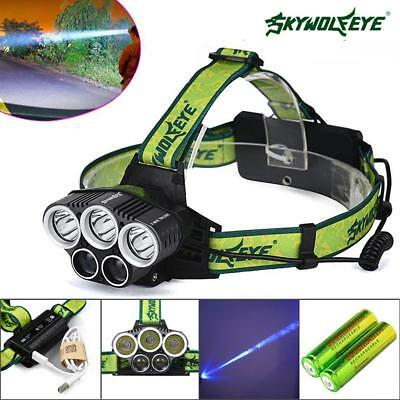 40000 LM 5X X-XM-L T6 LED Rechargeable USB Headlamp 18650 Battery Torch Light BR