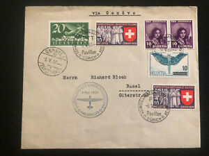 1939-Zurich-Switzerland-Special-Flight-Airmail-cover-to-Basel-National-Exhibiti
