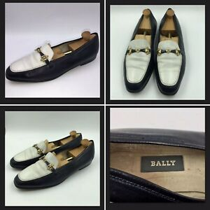 94042b9901588 Details about Vintage Bally Navy & White Leather Snaffle Loafers Sz 8 41  Womens Shoes Nautical