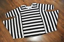 Lagenlook°Flügel-Tunika-Shirt°Blockstreifen°black&white°Gr.4,54,56,XXXXXL