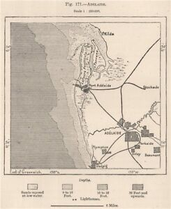 Map Adelaide Australia.Adelaide Australia 1885 Old Antique Vintage Map Plan Chart Ebay