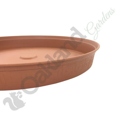 2 x 37cm Plant Pot Saucer Drip Tray Terracotta Plastic Deep High Sided Strong