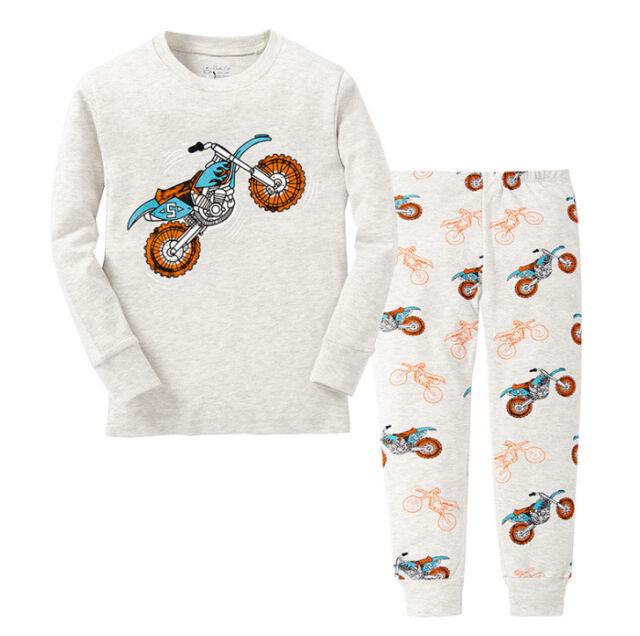 Baby Toddler Kids Boys Cartoon Motorcycle Sleepwear Children's  Pajamas Set 2-7T