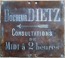 Old French fine bronze building sign Emile Marie Dr Docteur Dietz Bayeux 1920s