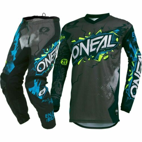 Oneal 2019 MX Element Villain Grey Blue Jersey Pants Motocross Gear Set