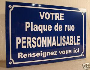 Réplique Plaque de Rue Alu   Personnalisati<wbr/>on GRATUITE
