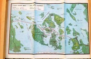 Vintage-1988-Map-of-SAN-JUAN-ISLANDS-WASHINGTON-FERRY-ROUTE-MAP-Puget-Sound-Map