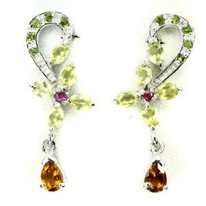 REAL-GEM-Citrine-Chrome-Diopside-Peridot-Ruby-14K-ON-925-Silver-DROP-Earrings