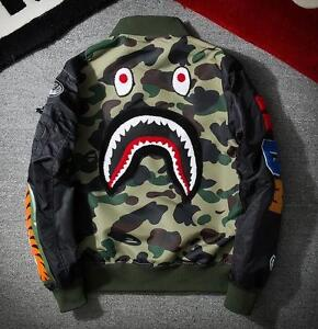 Image Is Loading Men Baseball Army Japan Zip Jacket Shark Ma