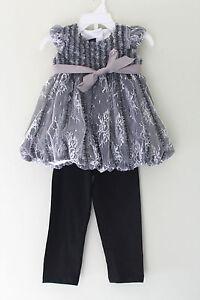 NWT-Isobella-amp-Chloe-White-Lace-Holiday-Bubble-Hem-Leggings-Toddler-Girls-Set-2T