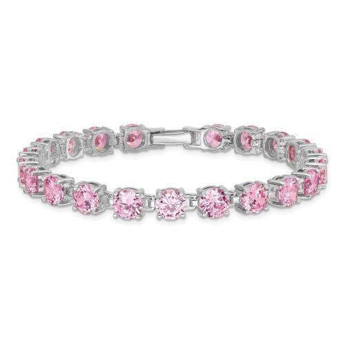 Véritable Argent Sterling Rose Rond Cut Zircone cubique Tennis Bracelet 20.34 G 7 in environ 17.78 cm