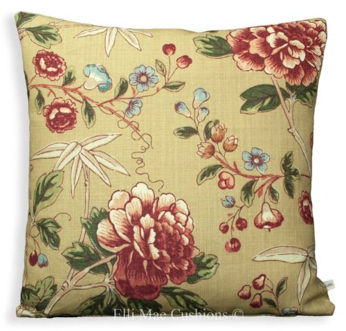 William Morris Tangley florale luxe tissu rouge vintage designer coussin oreiller