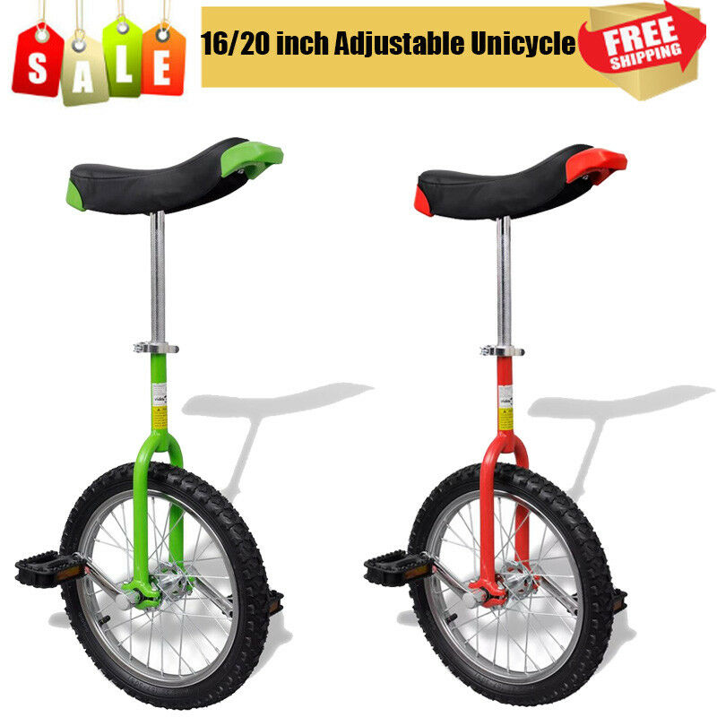Unicycle 16   20 Inch Adjustable Height Balance Cycling Exercise Red   Green UK