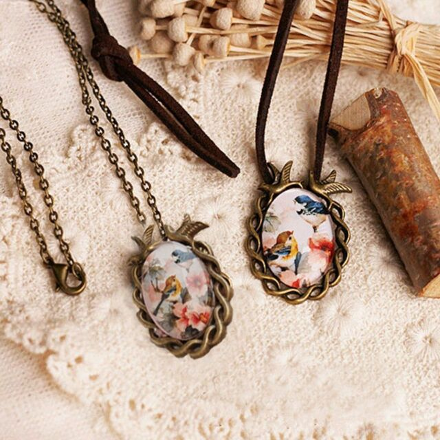 Cameo Unique Women Vintage Oval Pendant Necklace Glass Cabochon Flower Bird