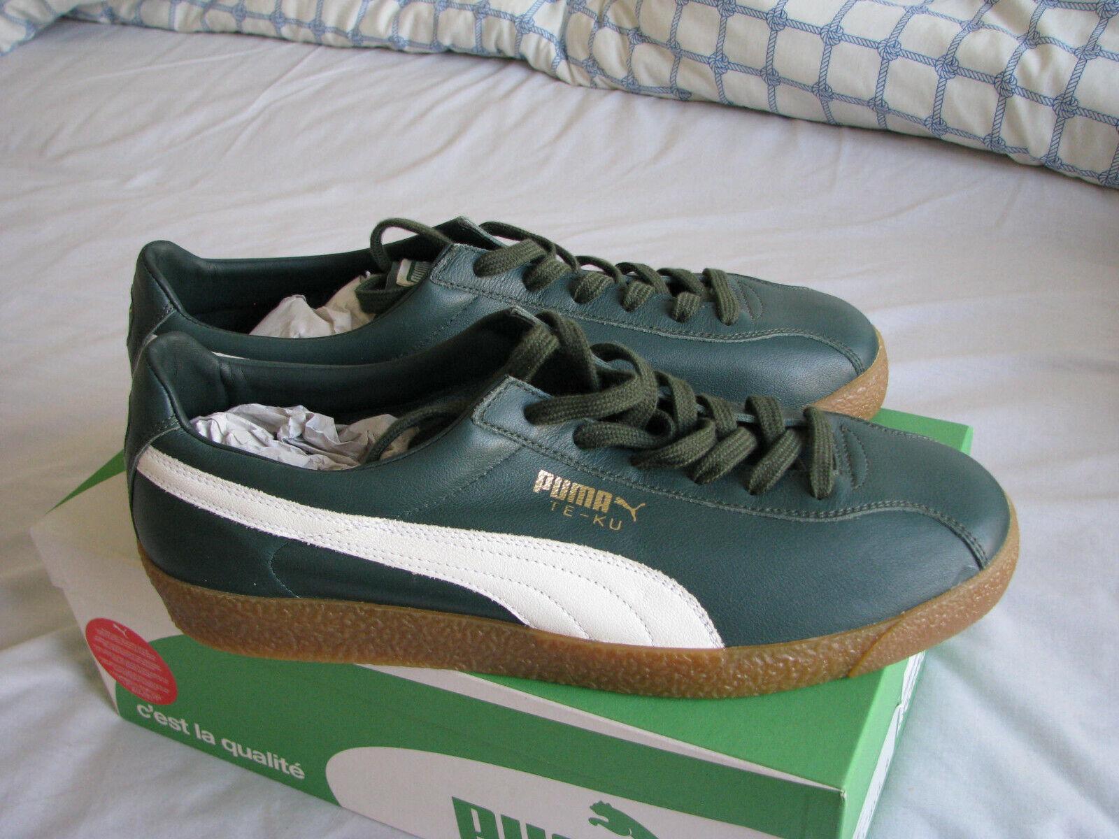 Puma Te-Ku Leather Green Lace Up Low Top Mens Trainers 365814 01 U4