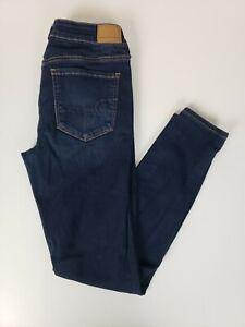 American-Eagle-Women-039-s-Jeans-Size-8-Jegging-Dark-Wash-Blue-Skinny-Leg-Denim