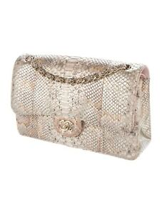 6118a566bff7 Image is loading Chanel-Metallic-Python-Classic-Double-Flap-Bag-Brand-