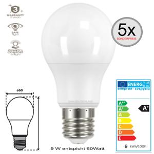 E27-LED-SMD-Leuchtmittel-Gluehlampe-9-W-entspricht-60W-warmweiss-Birne-5-Stueck