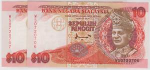 Mazuma *M913 Malaysia 7th $10 WS0720706-707 2 Running GEF