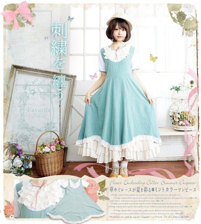 Lolita Princess Pure color Mori Girl Japanese Light Green Women High Waist Dress