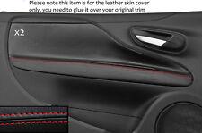 RED STITCH 2X DOOR CARD TRIM SKIN COVERS FITS FIAT PUNTO GRANDE EVO 10-14 3DR