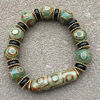 Old Tibetan Chinese agate buddhist Maya 3 eyed beads DZI hand string bangle