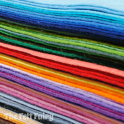 Wool Blend 12in Felt Squares Choose 10 from 69 Colours