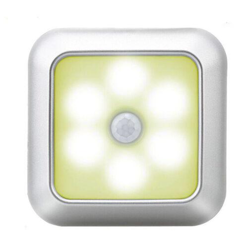 6 LED Night Light Motion Sensor Wall Closet Cabinet Stair Wireless Lamp