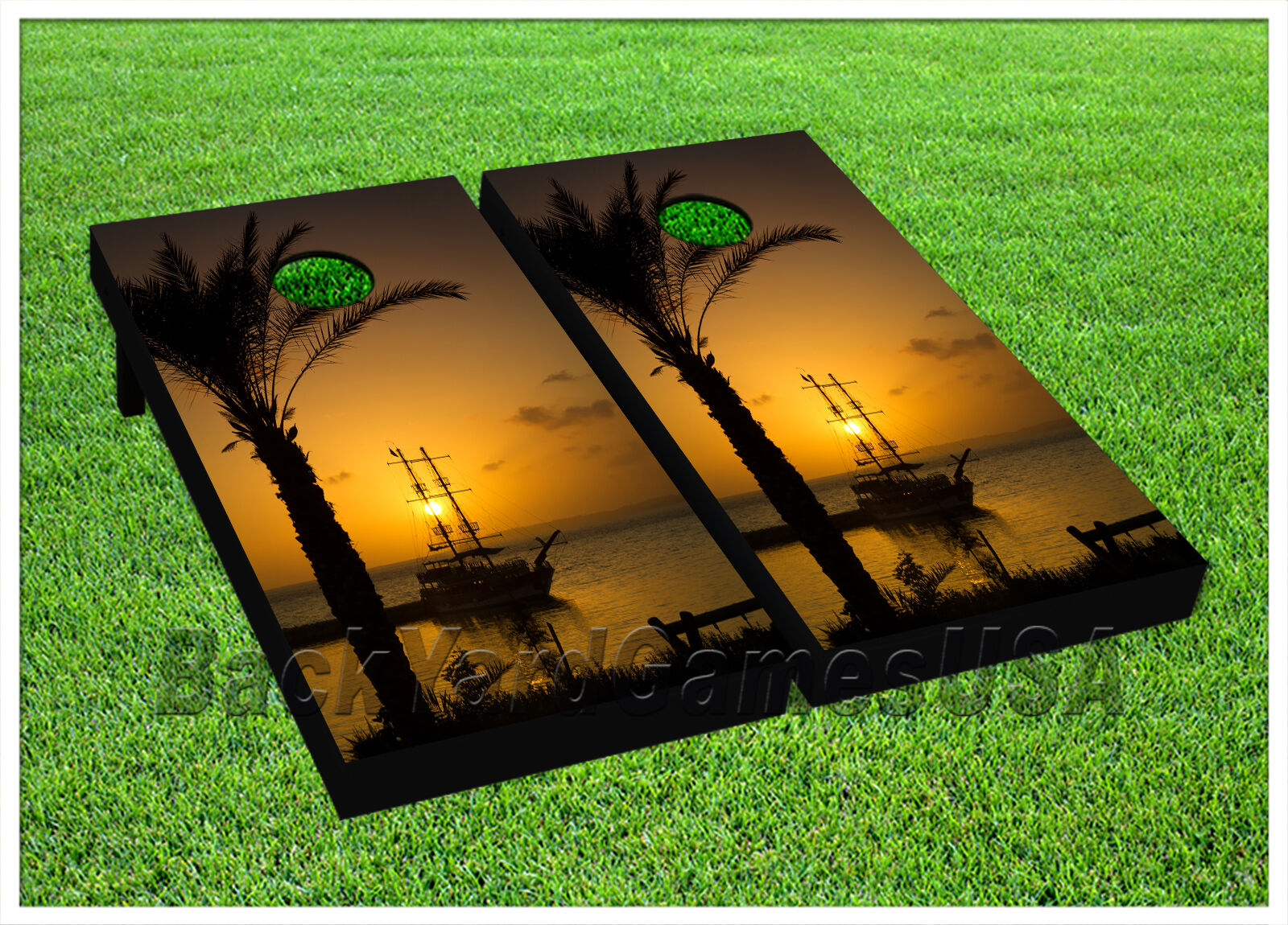 Ship in sunset CORNHOLE BEANBAG  TOSS GAME w Bags Game Boards Digital  Set 1038  fast shipping and best service