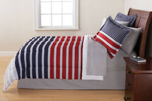 Red White Blue Grey Striped 6 Piece Reversible Comforter Bedding Set Twin Size