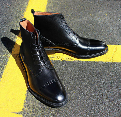 Mens Handmade Boots Black Leather Cap Toe Lace Up Ankle Formal Wear Casual shoes