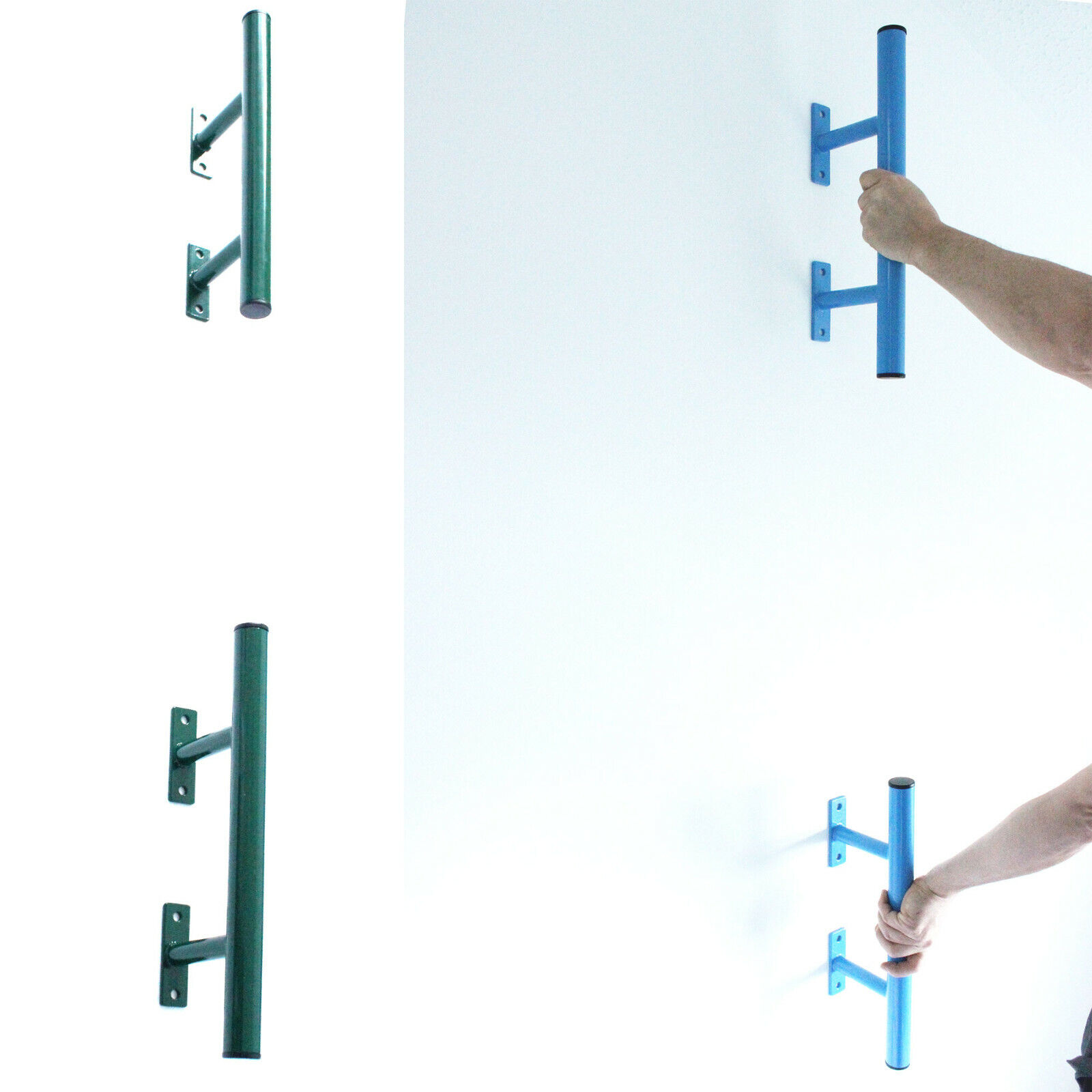 Set of Steel Bars For Human Flags and Callisthenics Training in Green or blueee