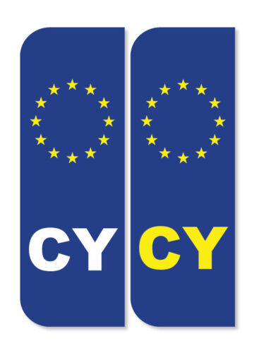2 x CYPRUS Car Number Plate vinyl stickers