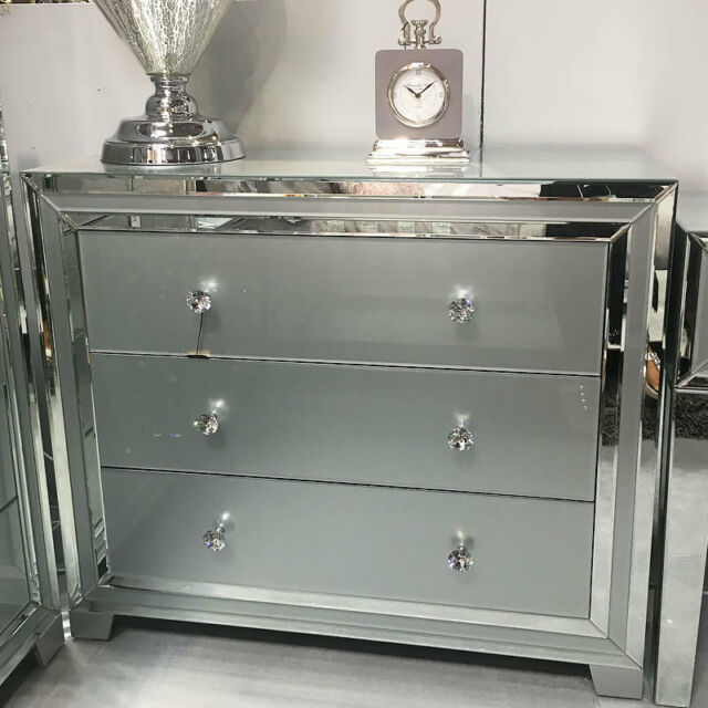 Sparkling Madison Grey Gl Silver Mirror Large Chest 3 Drawer Cabinet Table