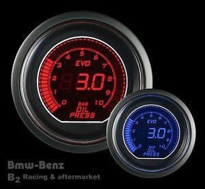 52mm-Digital-LED-Evo-Series-Electrical-Metric-Oil-Pressure-Gauge-Red-Blue-BAR