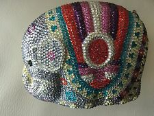 Minaudiere Elephant Gold Pink Multi Evening Bag Handbag Crystal Evening Bead NEW