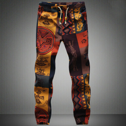 Casual Cotton Men Drawstring Gecko Floral Pattern Print Jogger Pants Narrow Feet