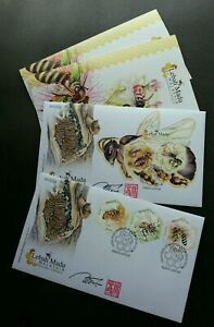 SJ-Malaysia-Honey-Bees-2019-Insect-Flower-FDC-pair-signed-die-cut-odd